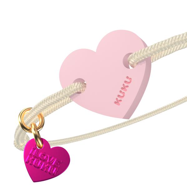 NARUKU - HEART - Beige-Babypink