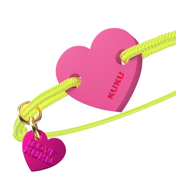 NARUKU - HEART - Neonyellow-Pink