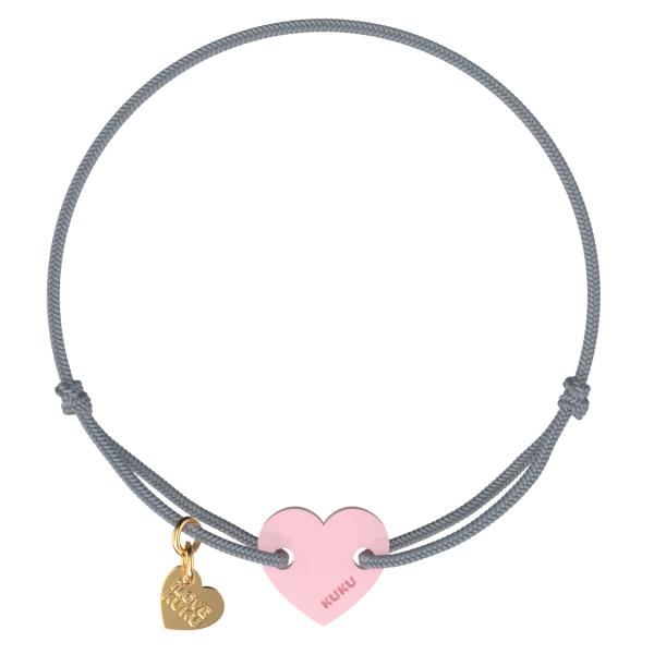 NARUKU - HEART -  Grey-Babypink
