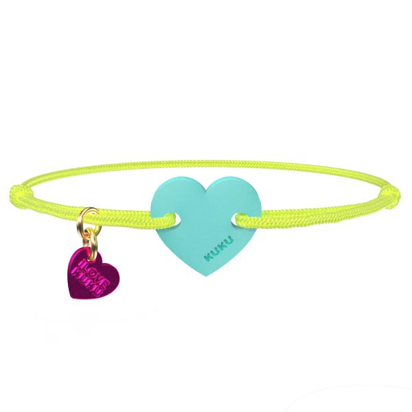 NARUKU - HEART - Neonyellow-Babyblue